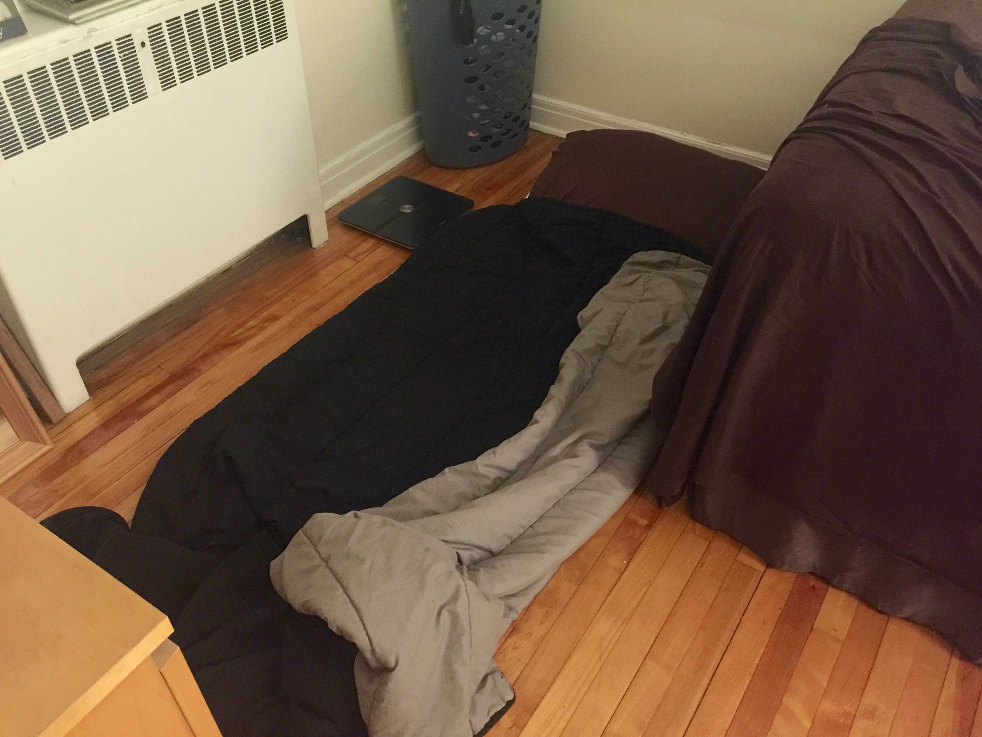 My bed for the month—a yoga mat that I kept on the floor beside my bed.