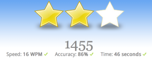Typing Club gives you simple star rating at the end of each lesson, in addition to detailed stats for how you did.