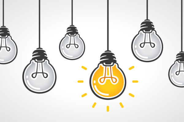 Hanging light bulbs with one glowing. Leadership and different business creative idea concept. Vector illustration eps 10
